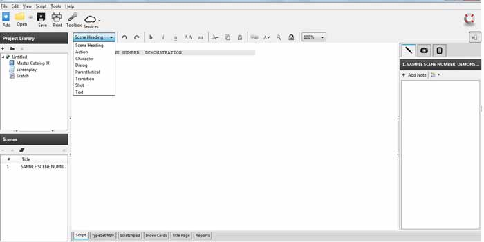 Celtx screenwriting software Template screenshot