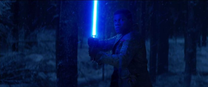 Star Wars The Force Awakens Finn with Luke's lightsaber