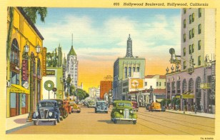 Hollywood Boulevard. Postcard: Western Publishing and Novelty Co., Los Angeles (from the archive of Leo Verswijver)