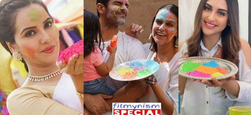 Geetanjali Mishra & Neha Dhupia in Holi Celebration-Filmynism