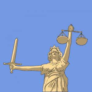 Têmis, a deusa da justiça com uma venda, espada e balança.