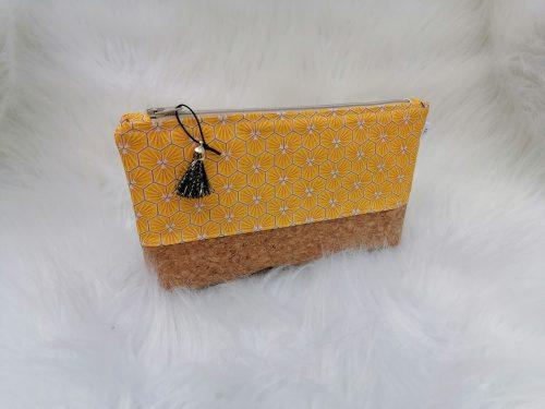 Trousse bi-matière liège et coton motifs riad jaune safran