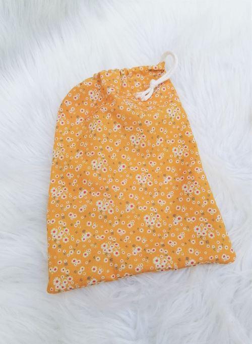Sac en tissu fleuri jaune avec cordon