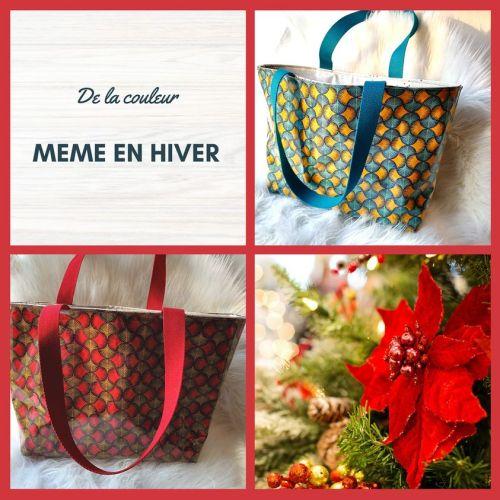 sac cabas efia 2 couleurs : bleu et rouge