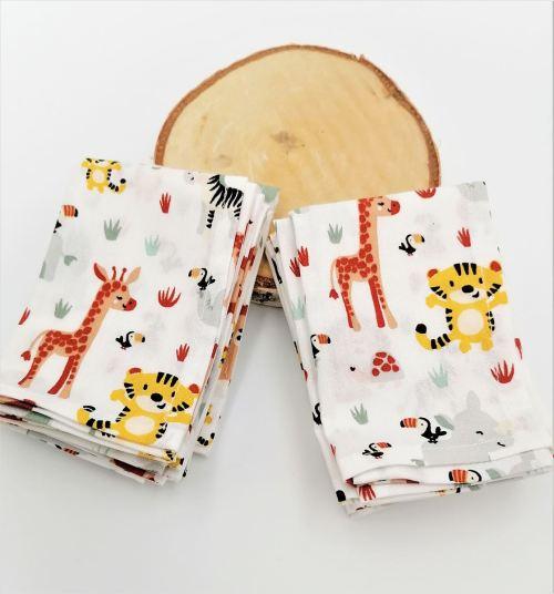 Mouchoirs en tissu lavables enfant jungle