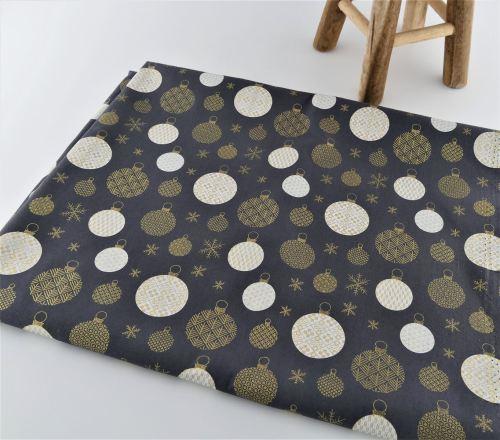 Furoshiki Fil'Otablo Emballage cadeau en tissu Boules de Noël dorées sur fond bleu marine