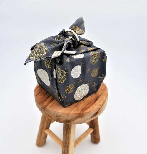 Furoshiki Fil'Otablo boules de noel fond gris