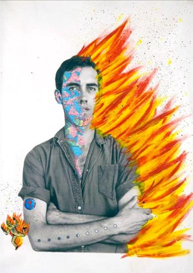 David Wojnarowicz, Portrait/Self Portrait of David Wojnarowicz, 1983-85 mixed media