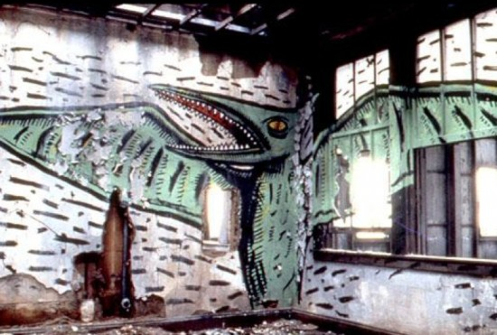 David Wojnarowicz, Abandoned Warehouse, 1983 paint on wall / piers
