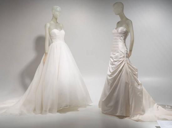 Wedding dresses worn by Alexis and Kim Stolz, Organza; silk Spring 2013, USA