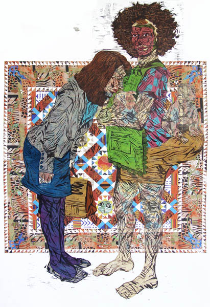 """Katrina Andry, Mammy Complex: Unfit Mommies Make for Fit Nannies Digital Media and Color Woodcut Reduction, 40"""" x 60"""", 2011 (Courtesy the artist)"""