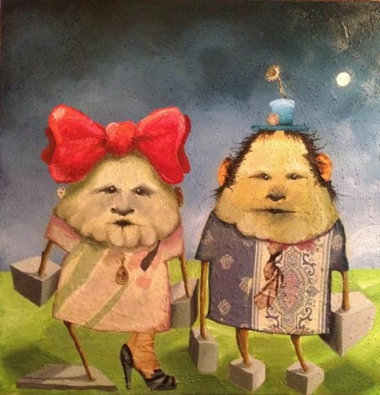 "Mark DeMaio, Who Invented The Twins, 36""x 36"", oil on pumice/canvas (all photos courtesy Mark DeMaio)"