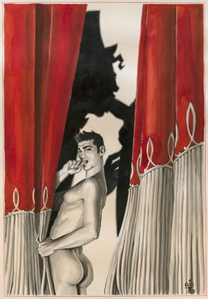 Benoît Prévot, John 02, 2013, Pencil, ink, and gouache on paper 29.75 x 22.5 in., Courtesy of the artist