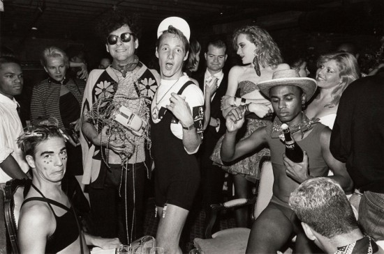 Village Voice columnist Michael Musto and club kids (Michael Alig and James St. James and others) at the Tunnel nightclub. New York, New York. Fall, 1987. © Jon Roemer (via fusevisual.org/)