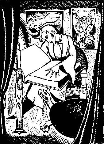 """Arthur Zaidenberg, """"It Had Not Been Able to Support the Dazzling Splendour Imposed on it"""" (1931 illustration for A Rebours)"""