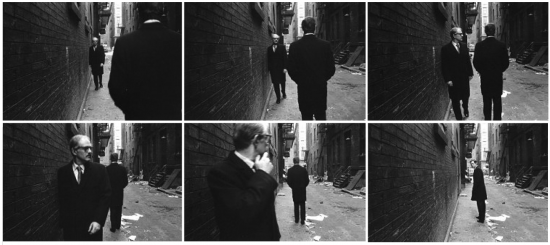 Duane Michals, Chance Meeting, 1970, gelatin silver prints with hand applied text