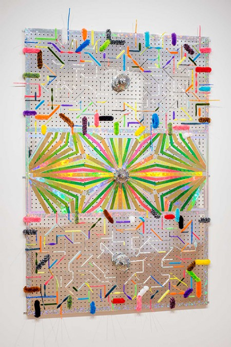 Bradley Wester  Circuit Clown, 2015 Holographic and glitter tape, mirror balls, cable ties, pipe cleaners on custom Mylar pegboard