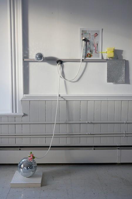 Bradley Wester  Drape, 2015 Plexi-face-mounted digital image, cable tie, sponge, mirror, mirror ball, plastic jewel sheet, nylon rope rubber, hardware, synthetic flower, gesso board