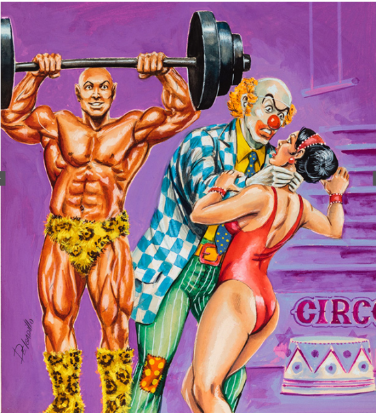 Delgadillo, Untitled (Clown attacking woman while muscle man watches), c. 1960-75, tempera on illustration board (Courtesy of Ricco Maresca Gallery, New York)