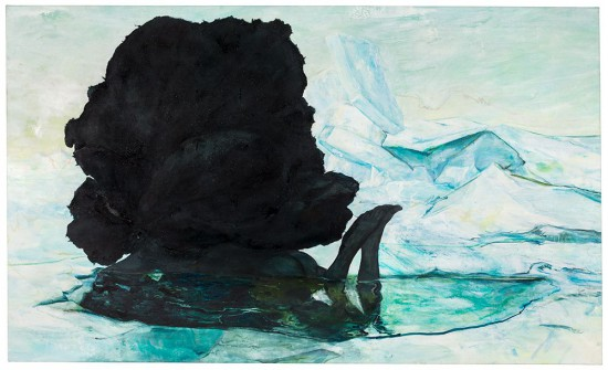 Cy Gavin, Untitled, 2015 acrylic, oil, ink, blood, diamonds, chalk and mica on brushed linen 54 x 90 inches (courtesy of the artist and Sargent's Daughters, New York)