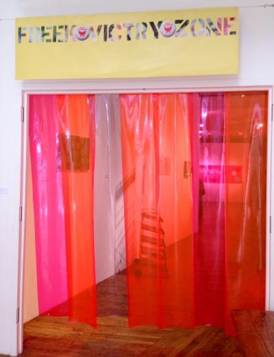 Nayland Blake, Freek Victory Zone (In Memorium: The Fag Club),, 2015, Vinyl banner and plastic