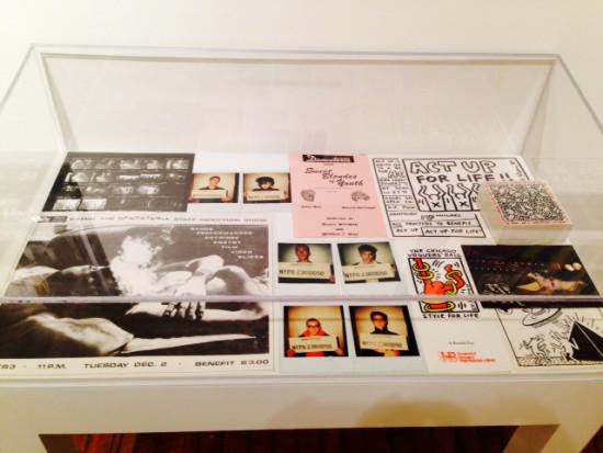 Installation view of vitrine with David Wojnarowicz, John Sex and Keith Haring ephemeral materials