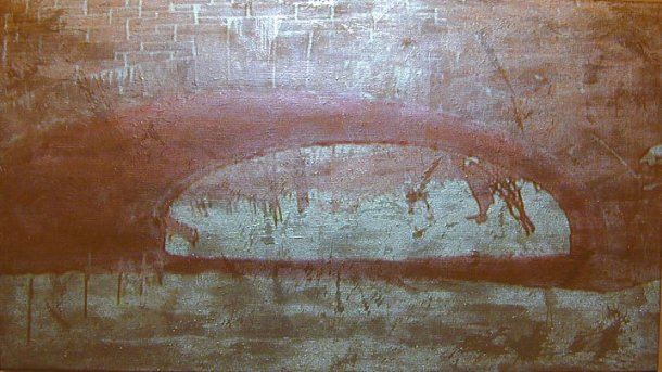 """Donald Moffett, Gold/Tunnel, 2003, Video projection, oil and enamel on linen, 54 x 96"""" (Private collection; Courtesy of Marianne Boesky Gallery, New York)"""