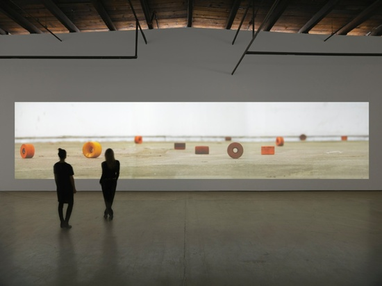 Installation view of Mark Bradford's Deimos in 'Be Strong Boquan' at Hauser & Wirth (all images courtesy of the artist and Hauser & Wirth, New York)