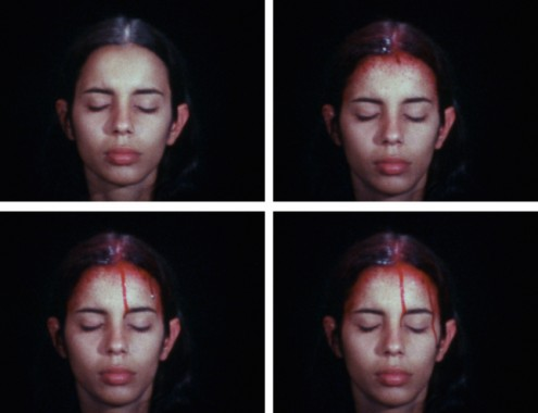 Ana Mendieta, Sweating Blood, 1973Super-8mm film transferred to high-definition digital media, color, silent (all images courtesy of Ana Mendieta Collection, LLC and Galerie Lelong, New York)