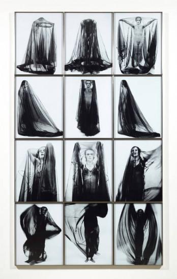Jürgen Klauke, Verschleierung (Veiling), Black and white Lambda prints, 1973 (Courtesy the artist and Koenig & Clinton, New York)