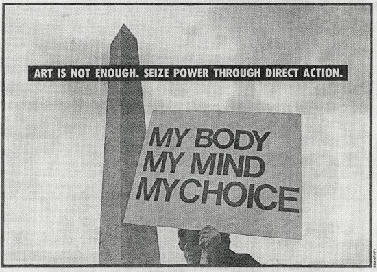 """Gran Fury, """"Art is Not Enough"""" (1988), printed in the Village Voice"""