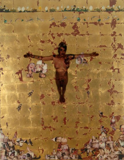 Genesis Breyer P-Orridge, Cruciform (Sigil Working), 2005, Polaroids, gold leaf, c-print on plexi, 70 x 54 in., (Courtesy the artists and Invisible-Exports, New York)