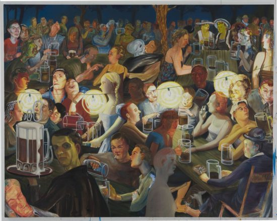 Nicole Eisenman, Biergarten at Night, 2007, Oil on canvas 65 × 82 in (165.1 × 208.3 cm) Collection Bobbi and Stephen Rosenthal, New York Courtesy the artist and Susanne Vielmetter Los Angeles Projects