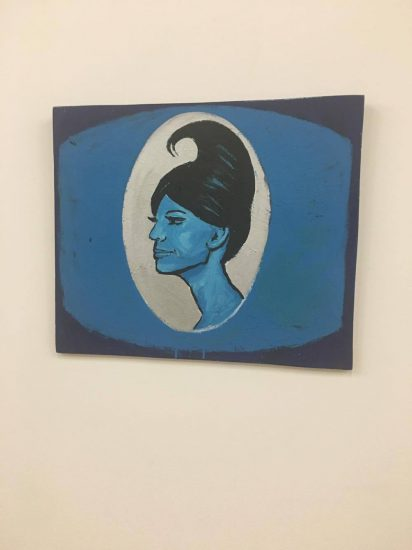 """Tom Rubnitz, Blue """"Lady,"""" 1985, enamel on board"""