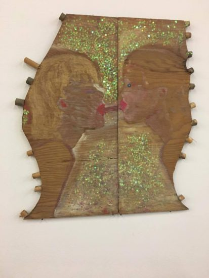 Ellen Cantor, title unknown, ca. 1990, oil on wood, glitter (all photos by author)