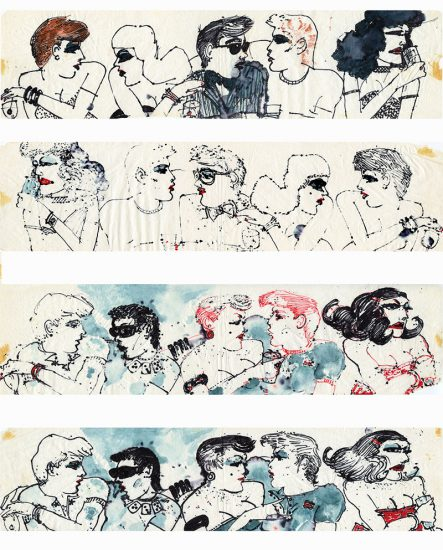 Jimmy Wright, Max's Kansas City, 1974, ink on paper napkins (Courtesy the artist and Fierman, NYC)