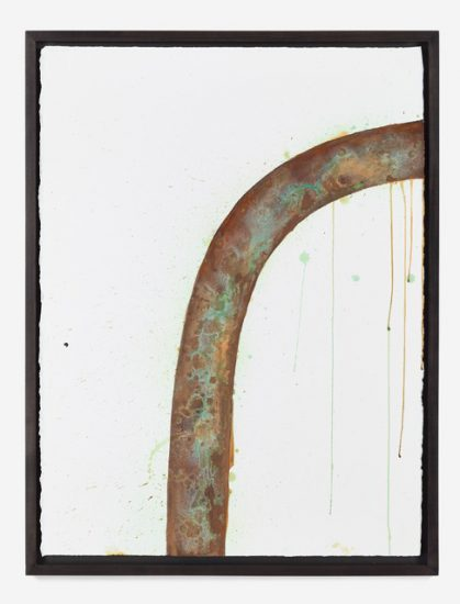 Lisa Kirk, Rusted Rainbow, 2013, patinaed bronze coating on Arches cotton oil paper (Courtesy the artist and INVISIBLE-EXPORTS, New York)