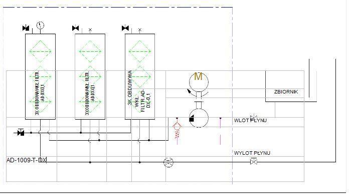 schemat hydrauliczny- agregat filtracyjny AD1009-T-DX