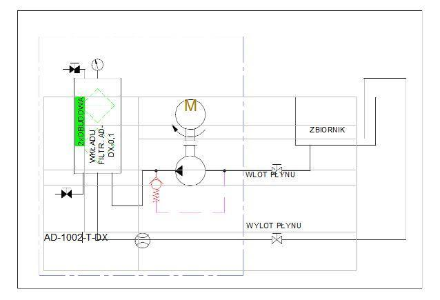 układ hydrauliczny- agregat filtracyjny AD1002-T-DX