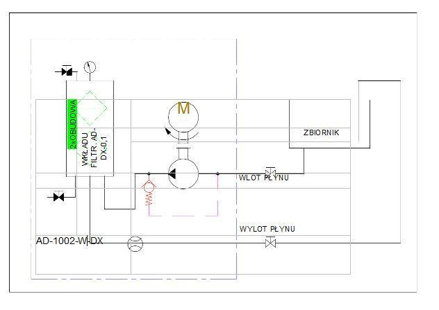 układ hydrauliczny- agregat filtracyjny AD1002-W-DX