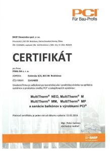 certifikát zateplovacie systémy PCI