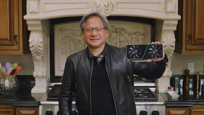 NVIDIA CEO Jensen Huang introducing the GeForce RTX 3070. Source: Nvidia