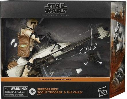 Stormtrooper, carrying Baby Yoda, on a speeder bike.