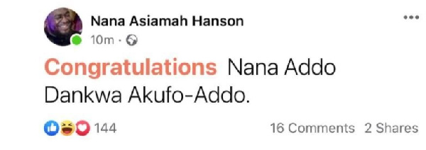Bulldog Sends a Congratulatory Message to Akuffo-Addo