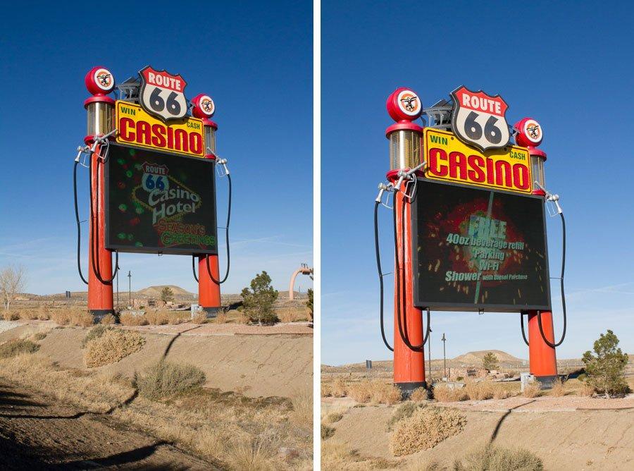 Giants along Route 66: Gas Pump Sign & Arrows