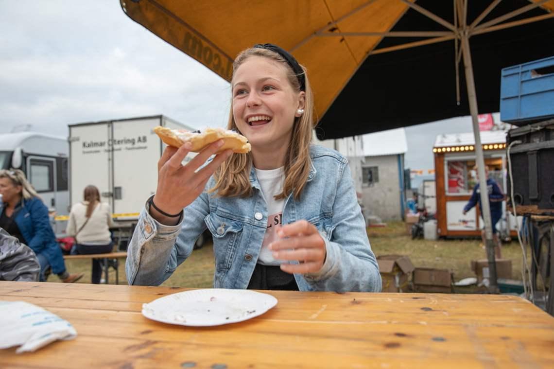 Eating Langos at Sweden's lagest market