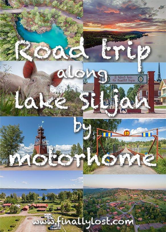 Road trip along lake Siljan by motorhome