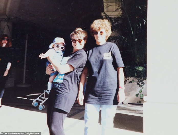 Katie Couric, daughter Ellie and Nancy Poznek at the Four Seasons Beverley Hills, 1991