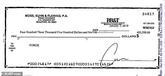 That same day, Fleming allegedly wrote a check for $403,500 to Murdaugh's shell account Forge (seen above)
