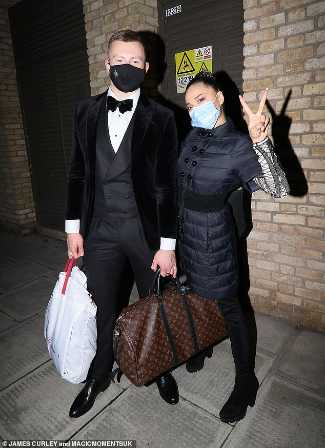 Keep dancing! The pair appeared in high spirits as they posed for a photo after filming